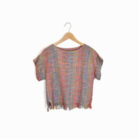 Vintage Boho Fringed Crop Top in Rainbow Woven Silk  - small/medium