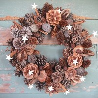 Pine Cone and Cinnamon Wreath with birch bark stars and spices