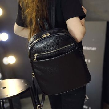 Soft Mini Vintage Leather Backpack Daypack School Bag