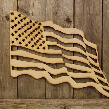 American USA Waving Flag- laser cut wood sign