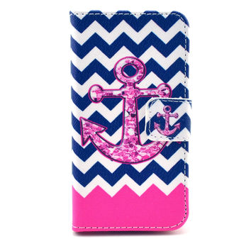 Navy Anchor Print Leather Case Cover Wallet