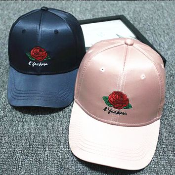 Hundreds Rose Embroidery Strap Cap Adjustable Golf Snapback Baseball Hat Cap Navy blue-Pink