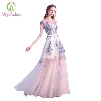 2017 New Evening Dress SSYFashion Light Grey Lace Flower Tulle Long Prom Dress Banquet Elegant Formal Party Gown Robe De Soiree