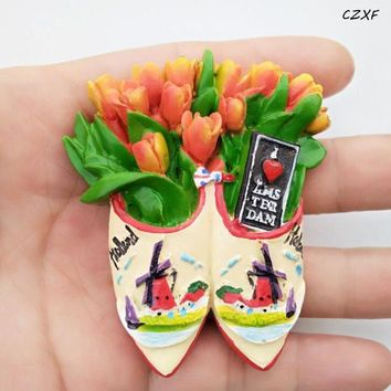1 Pcs/set Creative Holland Amsterdam Tulip Windmill Resin Magnetic Fridge Sticker Travel Souvenir