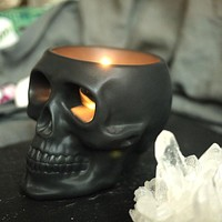 Skull candle holder silver black decoration