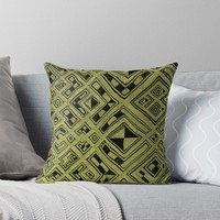 'RAFFIA KUBA PATTERN 3' Throw Pillow by planetterra
