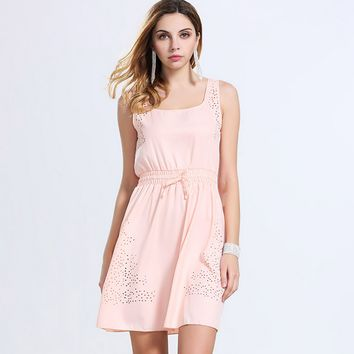 Strappy Drawstring Chiffon Dress