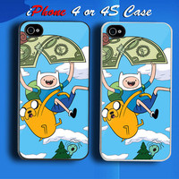 Adventure Time Finn and Jake Fly With Money Custom iPhone 4 or 4S Case Cover from namina