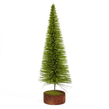 "16"" Moss Green Pine Artificial Village Christmas Tree with Wood Base - Unlit"