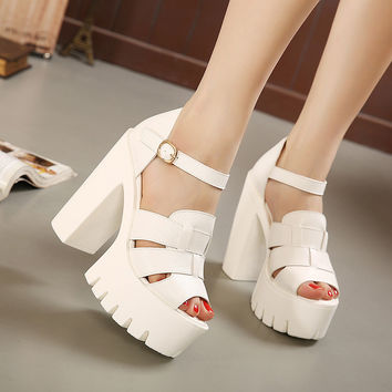 wedges platform sandals women Black and White open toe high heels