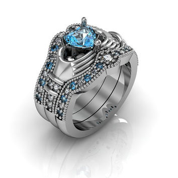 Claddagh Ring - Sterling Silver Blue Topaz Love and Friendship Engagement Ring Trio Set