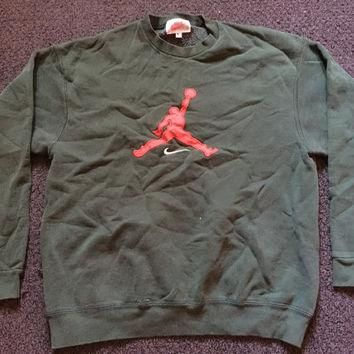 Vintage Green Nike Air Michael Jordan Crewneck Sweatshirt Sz XL