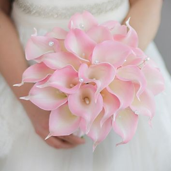 IFFO creative bride holding flowers custom simulation pink calla lily wedding bouquet simple bridesmaids bridal bouquet DIY