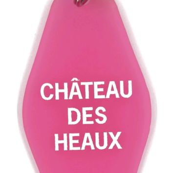Chateau Des Heaux Motel Style Keychain in Translucent Pink