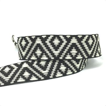 "ZERZEEMOOY NEW 1"" 25MM 10YARD/SETS DOUBLE FACE Black and ivory GEOMETRIC JACQUARD RIBBON MZZD16052502"