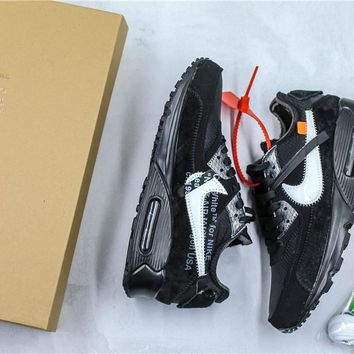 OFF-WHITE x Nike Air Max 90 Black Sneaker Shoes