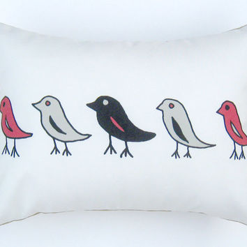 Black Red Beige Birds Pillow Cover 12 by 16 inch, Decorative Throw Pillow Cover, Cushion Cover, Sham