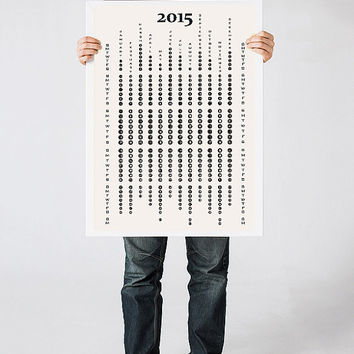 2015 calendar, Black and White wall calendar, Minimalist art print, Modern poster, Kitchen art, Home decor,