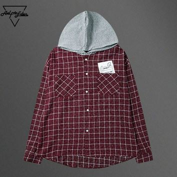spbest Plaid Shirts Men Long Sleeve