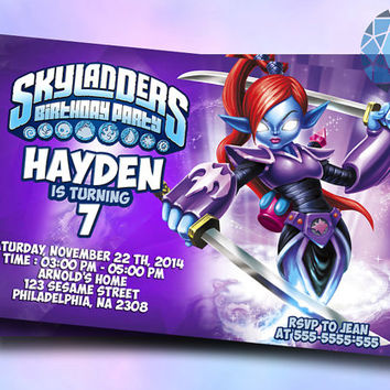 Skylanders Giants Ninjini Design For Birthday Invitation on SaphireInvitations