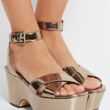 MICHAEL Michael Kors | Ariel metallic leather platform sandals | NET-A-PORTER.COM