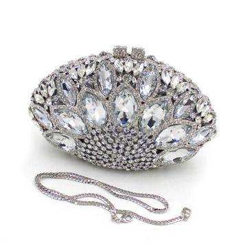 Luxury Crystal Clutch Party Handbags Silver