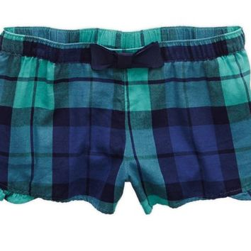Aerie Women's Flannel Boxer (Green Frost)