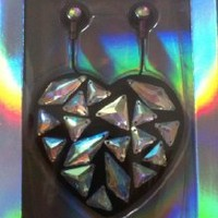 Victoria's Secret PINK Earbuds & Heart Case Bling Black Holographic Gem + BONUS VS Decal
