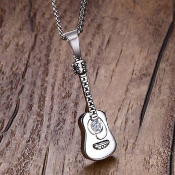 Men Necklac Stainless Steel Guitar Pick Necklaces Pendants for Mens Personalized Music Lovers Unisex Jewelry Memorial colar
