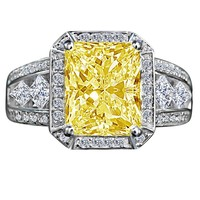 3.5 CT. (11x9mm) Radiant emerald center framed halo settings sterling silver split shanks zirconite diamond shape princess cut canary ring simulated diamond - diamond veneer 635R71484canary