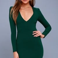 Haute in Here Forest Green Long Sleeve Bodycon Dress