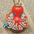 Steampunk Octopus Locket Necklace Vintage Style by sallydesign