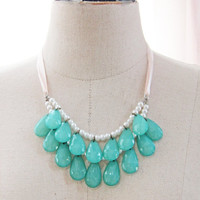 Beach Necklace Turquoise Blue Mint Green Necklace Aqua Necklace Bib Necklace - Inspired by Stormy Seas Necklace