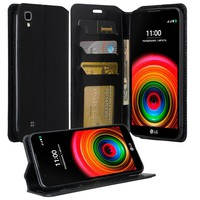 LG X Power Case, Magnetic Fold[Kickstand] Pu Leather Wallet Case with ID & Credit Card Slots for LG X Power - Black