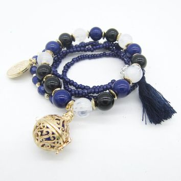 VidaLuxe™ Essential Oil Charm Bracelet Stack (royal blue w/ tassel)