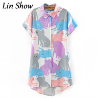 Colorful Cat Printed Women Blouses Summer Style Short Sleeve Casual Blusas Femininas Long Slim Turn Down Collar Woman Shirt Tops
