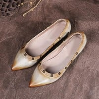 Womens handmade Leather Pointed Toe Nude Shoes Rivets Decorate Flats