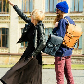 Backpack made of genuine leather handmade, handmade backpack, leather backpack, school backpack, laptop backpack, rucksack, men, women, blue