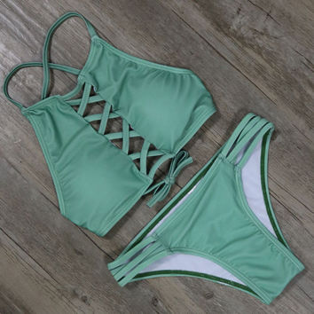 Trendy Two Piece Lace Up Bikini Set Brazilian Bikini Set Bathing Suit Beachwear
