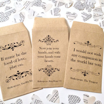 Shakespeare Book Confetti for Vintage Wedding