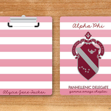 Alpha Phi Striped Crest Sorority Personalized Clipboard