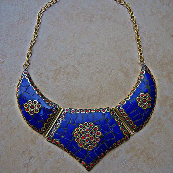 Necklace- Bib necklace- Collar necklace- Statement Necklace- Long Necklace- Lapis Necklace- Beaded Necklace- Boho Necklace- Hip necklace