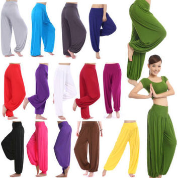 Women Harem Genie Aladdin Causal Gypsy Dance Pants Trousers Baggy Jumpsuit Colourful