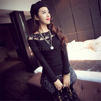 2016 Fashion Women Sexy Lace Splice Long Sleeve Slim Fit Tee Shirt Tops Blouse
