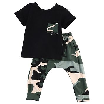 Children fashion summer baby boys girls clothing sets bow camouflage sport suit clothes sets boys girls