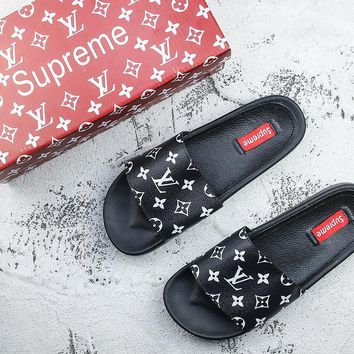 supreme x lv 14ss men women black slide sandals