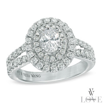 Vera Wang LOVE Collection 1-1/2 CT. T.W. Oval Diamond Frame Engagement Ring in 14K White Gold