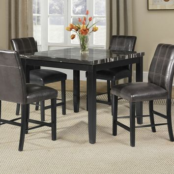 5 pc blythe collection square black finish wood and faux marble top counter height dining table