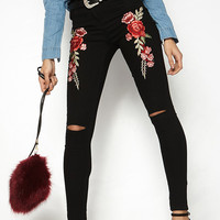 Black Embroidery Floral Ripped Knee Skinny Jeans