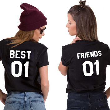 Best 01 And Friend 01 BFF Shirts Women Clothes T Shirt Girls Sisters 01 Couples Unisex male T-Shirt Female Letter Tee Printed
